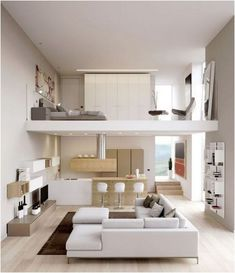 Some of the most successful decorators have a streamlined approach to decorating their homes. But what makes a successful home? Here are 33 of the most successful and popular Modern Minimalist bedroom design inspirations: Loft House Design, Tiny House Loft, Loft Interior Design, Home Room Design, Small House Design, Modern House Design, Interior Modern, Tiny Houses, Kitchen Interior
