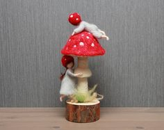 Needle felted gnome children. Toadstool children mushroom