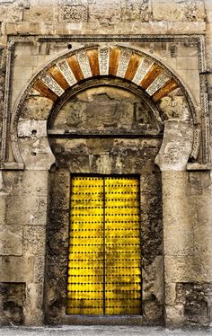 Córdoba in Andalusia, Spain Cool Doors, Unique Doors, Door Hinges, Door Knockers, Door Picture, Yellow Doors, Door Entryway, Mellow Yellow, Doorway