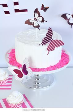 Vanilla Double Layer Cake + Easy #Foil Butterfly Decorations butterfly or dragon flies would be cute