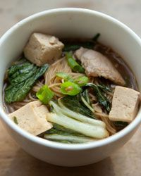 Pasta, Tofu, Pork, and Chinese Cabbage in Ginger Broth.   Make extra broth and use it for other soups/steaming veggies/a quick pan sauce all week!
