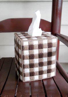 Gingham checkered tissue box cover
