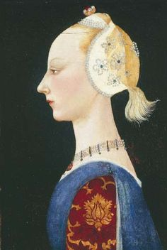 A Young Lady of Fashion - Paolo Uccello Completion Date: 1464 Style: Early Renaissance Genre: portrait Technique: oil Renaissance Kunst, Renaissance Portraits, Italian Renaissance, European History, Art History, Gardner Museum, Italian Artist, 15th Century, Art Plastique