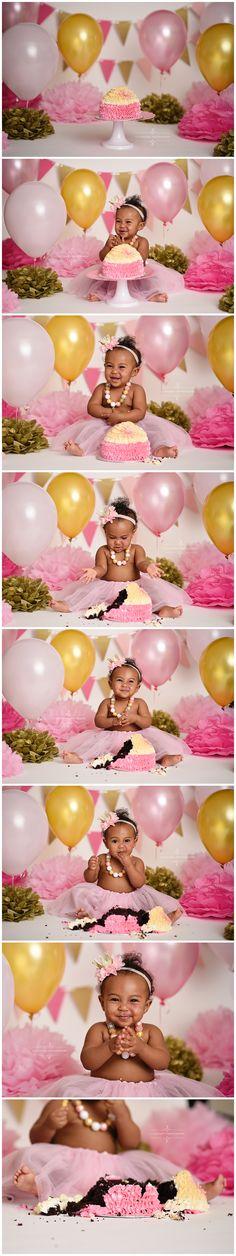 cake smash session, first birthday, one, girl, baby, pink and gold, cake, balloons, studio photography, ideas, inspiration, professional, richmond, glen allen, midlothian, virginia, VA, 11 Sixteen Photography