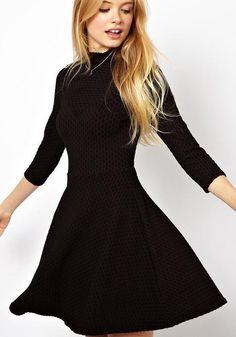 Black Plain Seven's Sleeve Dress