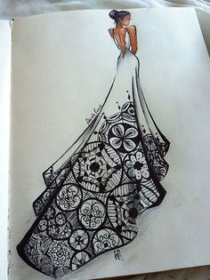 40 Absolutely Beautiful Zentangle patterns For Many Uses – Art Dress Sketches, Art Sketches, Art Drawings, Sketches Of Girls, Abstract Sketches, Fashion Design Drawings, Fashion Sketches, Fashion Illustrations, Drawing Fashion