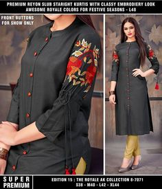 VSS reyon cotton kurti with embroridry m l Xl Xxl size quality superb Price fashionable stylish fashionstyle outfit fashiongram beauty fashionphotography trend dress fashiondesigner clothes trendy outfitoftheday fashionweek Get more LikesWithTagsApp Kurti Sleeves Design, Sleeves Designs For Dresses, Kurta Neck Design, Dress Neck Designs, Blouse Designs, Kurta Designs Women, Salwar Designs, Kurti Embroidery Design, Embroidery Dress