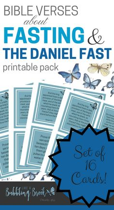 Daniel Fast scripture cards. 16 printable cards. Great way to boost your prayer and fasting! #thedanielfast #fasting