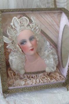 Antique French Boudoir Doll in Wedding Display Box Casket Bridal Edwardian | eBay