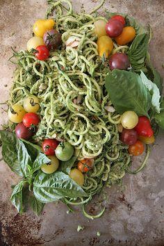 Zucchini Noodles with Basil Almond Pesto #vegetarian #recipe