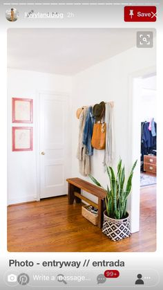 31 Amazing Mudroom And Entryway Benches, foyer decor with hooks Entryway Furniture: Do Not Neglect Y Narrow Bench, Small Bench, Entryway Shoe Storage, Entryway Decor, Entryway Ideas, Hallway Ideas, Entryway Hooks, Narrow Entryway, Small Entrance
