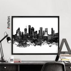Houston print black and white poster wall art by iPrintPosters