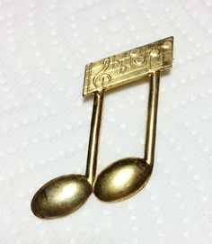 Vintage Brass Music Note Pin Brooch | eBay