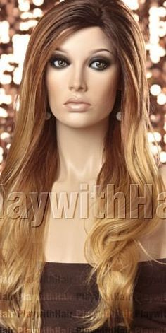 Honeycaramel// Ombre Dark Brown Root & Light Blonde Tip// Full Wig// with Skin Scalp