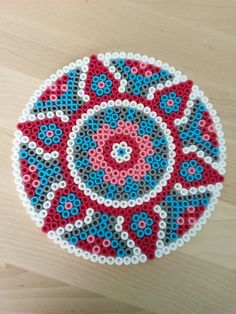 Hama perler bead mandala by Thea P. Hama Beads Coasters, Diy Perler Beads, Perler Bead Art, Pearler Beads, Fuse Beads, Perler Bead Designs, Perler Bead Templates, Hama Beads Design, Pearler Bead Patterns