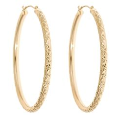 14K Yellow Gold Diamond Cut Large Round Hoop Earrings  Select Jewelry™14K Yellow Gold Diamond Cut Large Round Hoop Earrings    Please report any items that arrive damaged within 72 hours.         UNWORN can be returned within 30 days #madeinamerica #keepamerica #goldhoops