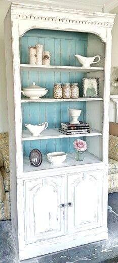 Annie Sloan Antique White with Provence Display Cabinet