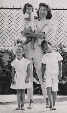 Patricia Kennedy Lawford, wife of Peter Lawford, with their kids Sydney, Victoria, and Christopher