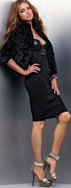 Sexy little black dress and fur coat