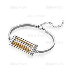 pulsera de abaco dorado diseno moda especial en acero plateado inoxidable - SSBTG544631