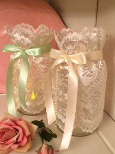 Lace Mason Jar Wrap/ MADE TO ORDER/ Your by DolledandDazzled Lace Mason Jars, Quart Size Mason Jars, Painted Mason Jars, Mason Jar Diy, Mason Jar Crafts, Mason Jar Projects, Mason Jar Centerpieces, Wedding Centerpieces, Decorated Jars