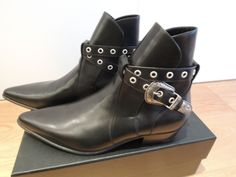Saint Laurent Paris Duckies Belt Detail Calf Leather Boot Black EU43 RRP £735 | eBay
