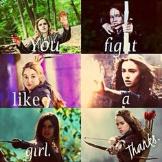"Hermione Granger ~ Katniss Everdeen ~ Tris Prior ~ Clary Fray ~ Annabeth Chase ~ Susan Pevensie "" You fight like a girl "" Book Memes, Book Quotes, Movie Quotes, I Love Books, My Books, Fangirl, Citations Film, Fandom Quotes, Bon Film"