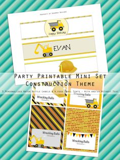 Construction Birthday Party Mini-Set - Water Bottle Labels and Food Label Tents - Printable