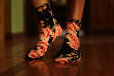 Pink and Black Floral Fleece Socks Slippers by Anagrassia on Etsy