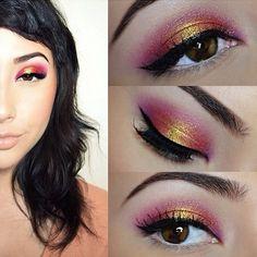 Pink and yellow eyeshadow || tumblr