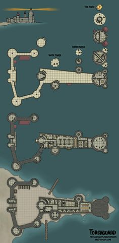 Torchguard - A Lighthouse Fortress [Map][OC] Fantasy Map Making, Fantasy City Map, Fantasy Rpg, Fantasy Battle, Dungeons And Dragons Homebrew, D&d Dungeons And Dragons, Medieval, Pathfinder Maps, Building Map