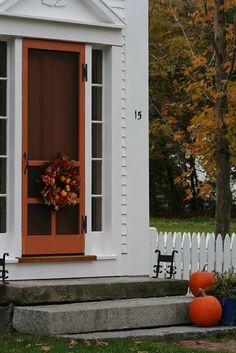 Beautiful granite front steps... love the orange door...