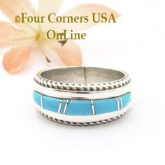 Four Corners USA Online - Size 6 Turquoise Inlay Rope Band Ring Navajo Wilbert Muskett Jr WB-1779, $145.00 (http://stores.fourcornersusaonline.com/size-6-turquoise-inlay-rope-band-ring-navajo-wilbert-muskett-jr-wb-1779/)