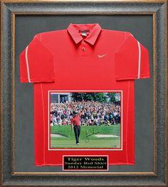Tiger Woods signed Sunday Red Shirt photo Framed