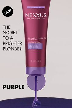 Gone Blonde? Keep your blonde brighter and cooler with New Nexxus Blonde Assure Purple Shampoo in just 1 use. Gone Blonde? Keep your blonde brighter and cooler with New Nexxus Blonde Assure Purple Shampoo in just 1 use. Curly Hair Styles, Natural Hair Styles, Hair Quiz, Blonde Hair Care, Toning Shampoo, Purple Shampoo, Cool Hair Color, Hair Hacks, Hair And Nails