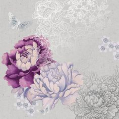 Monsoon - purple and silver flowers and butterflies canvas art | Graham and Brown