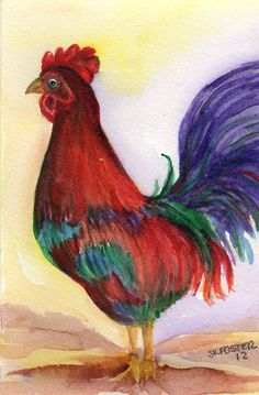 Original Rooster painting  Chicken Art by SharonFosterArt on Etsy, $15.00