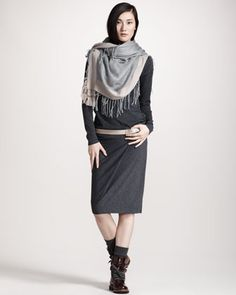 Drop-Waist Turtleneck Dress, Two-Tone Fringed Scarf & Shiny Leather Belt by Brunello Cucinelli at Bergdorf Goodman......clunky boots again paired with a belt that should have been left with the outdoorsy gear they belong to!!!