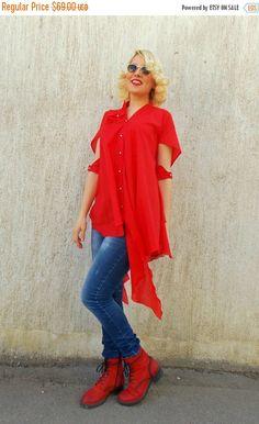 YELLOW SALE 20% OFF Red Cotton Shirt / Summer Plus Shirt Tunic Tt46