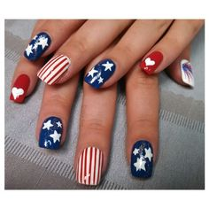 Stars and Stripes Nail Art Gallery ❤ liked on Polyvore featuring nails, makeup, nail art and patriotic