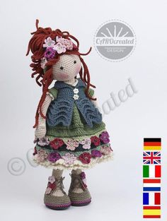 Please note: This listing is for a CROCHET PATTERN to make the pictured doll and NOT FOR A FINISHED ITEM This pattern is available in ENGLISH, FRENCH, DUTCH, SPANISH, ITALIAN and GERMAN language. This listing is for an extensive PDF file which contains full instructions for crocheting and Crochet Doll Pattern, Crochet Chart, Crochet Patterns Amigurumi, Amigurumi Doll, Crochet Dolls, Quilt Batting, Bobble Stitch, Sport Weight Yarn, Single Crochet Stitch