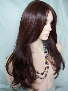 Emma Sepia Wig in Dark Brown with Medium Auburn Highlights