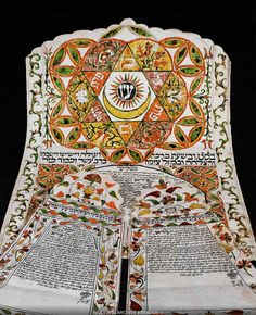 Ketubah, a Jewish marriage contract, from Egypt. A half-moon and star, symbols of Islam, appear in the middle of the Star of David (Magen David). 1835 Three sheets, Ink on parchment, 54,9 x 38 cm, 36,1 x 22 cm, 33,5 x 22 cm