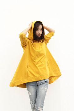 Lagenlook Kapuzen Cape Stil Top Modische Kapuzen-Top aus Baumwolle in Senf für Frauen - NC370