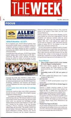 ALLEN's Cover Story in #TheWeek (June Edition) ✍ ★ ALLEN - The 1st choice for Engineering/Medical Aspirants ★ संस्कार से सफलता तक....