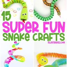 15 Super Fun Snake Crafts If you're looking for some fun craft ideas to get your kids in creative mode this summer, then look no further! We have 15 super fun snake crafts that are perfect for young children. Kids are always interested in snakes, and who can blame them? They come in so many […] Painting Activities, Motor Activities, Activities For Kids, Snake Crafts, Fun Crafts, Crafts For Kids, Silly Putty, Tot School, Kids Education