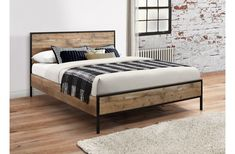Introducing the Urban Rustic bed frame, brought to you by Birlea. The Urban bed frame is constructed using a robust frame that has a raw wood effect finis Rustic Wooden Bed, Wooden Bed Frames, Reclaimed Wood Beds, Metal Frames, Box Frames, Wooden King Size Bed, King Size Bed Frame, King Metal Bed Frame, Urban Rustic