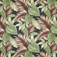 """Hanalei tropical leaf fabric in color black on base cloth of 100% cotton bark crepe. Repeats: H-28.5"""" V-23.5"""""""