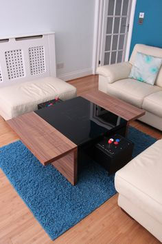 This arcade table has one joystick on each side so you can battle your friends. The table comes equip with 60 games programmed already. With the sleek design and walnut finish your wife or girlfriend will want to put it right in your living room. Arcade Table, Bartop Arcade, Arcade Console, Retro Arcade Games, Video Game Rooms, Video Games, Arcade Stick, Nerd Room, Arcade Machine