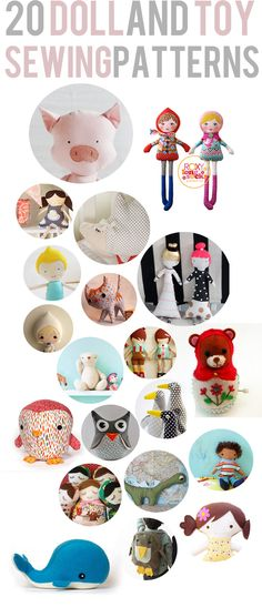 Free Printables & Sewing Patterns  Direct link to patterns: http://seekatesew.com/20-doll-toy-patterns-to-sew/
